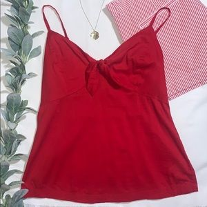 Old Navy Red Tie Front Cami Tank